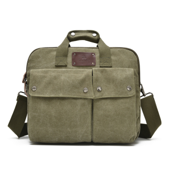 Large Capacity men's handbag cross-section student computer bag 14-inch shoulder messenger bag casual multi-pocket canvas bag (Army green)