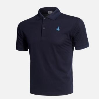 Harga Mens Eagle Classic Fit Mesh Solid Polo T-shirt (Navy Blue) - intl
