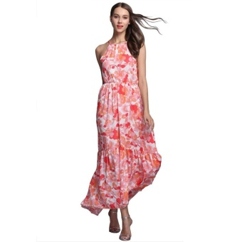 Harga Women's Clothing New Dress Comfortable Fashion Condole Belt Printing Dresses Beach Dress - intl