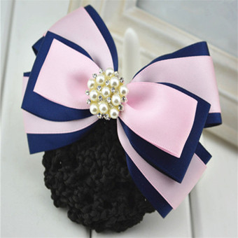 Harga Color korean hair jewelry wholesale bow career head flower stewardess bank staff hairpin hair net bag free postage (Pink pearl paragraph)