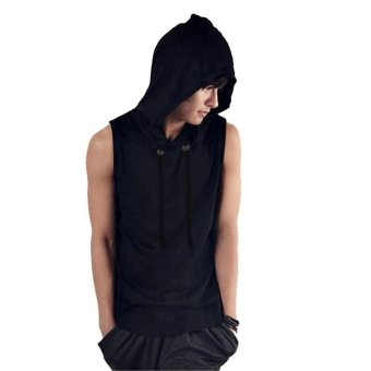 Harga C1S C1SMenSleeveless Loose Hoody Solid Tank Tops Pullover (Black) - intl