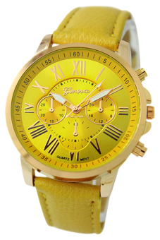 Harga BlueLans Geneva Roman Numerals Faux Leather Wrist Watch (Yellow)