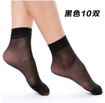 Harga 10 double langsha ms. icy ultra thin transparent crystal silk short stockings anti hook wire female socks black socks spring and summer (Black short 10 double)