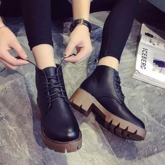 Harga Fashion British Style Short Boots Retro Tie The Thickness of the Bottom Women's Shoes With Crude(Black) - intl