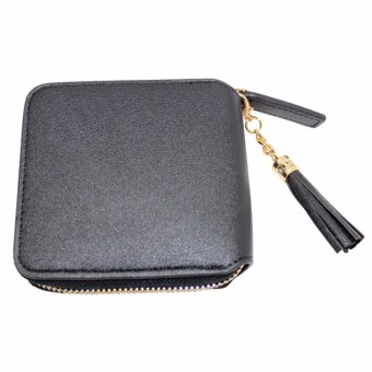 Harga Boshiho Womens Leather Wallet Zipper Around Credit Card Case Purse(Black) - intl