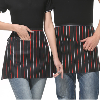 Harga New hotel in the western half apron aprons bust lengthen male waiter aprons hotel restaurant (Black red and white stripe apron)