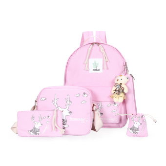 Harga Korean clouds printing campus shoulder bag female junior high school student casual canvas bag travel bag backpack tide (Pink deer)