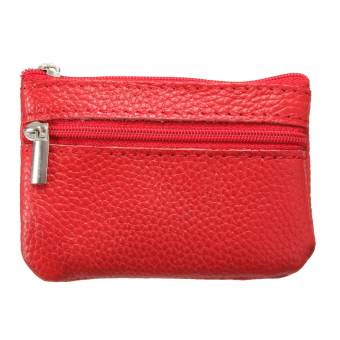 Harga Women Men Genuine Leather Zip Coin Purse Mini Money Wallet Key Pouch Gift Purse Red