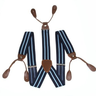 Harga Braces Unisex Suspender Adjustable Leather Fitting Six Button Holes Navy Blue BD757