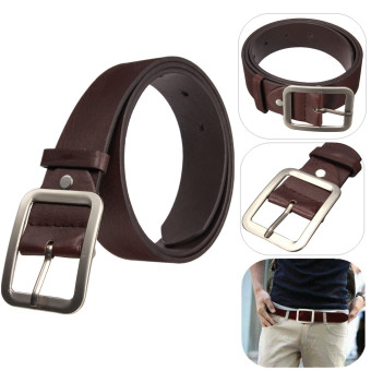 Harga Fashion Men's WaistBand Leather Classic Casual Dress Pin Belt Waist Strap Belts Coffee - intl