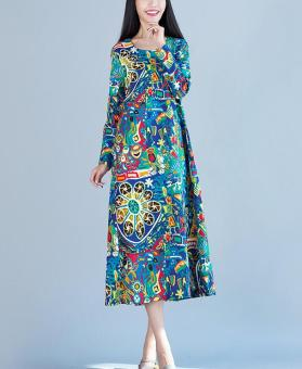 Harga National Wind Linen loose abstract Print long-sleeved dress