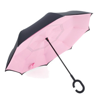 Harga Reverse reversal reflexed umbrella creative double umbrella umbrella sun umbrella skillet large men and women car advertising umbrella (Pink)