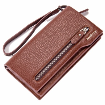 Harga Baellerry Brand Men's Wallet Business Long Leather Purses Male Hand Bag Card Holder (Brown) - intl