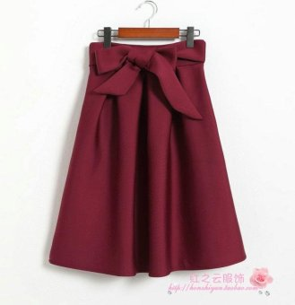 Harga 2016 spring and autumn korean version of the retro bow high waist space cotton bust skirt long ruffle a-line skirt female (Red wine)