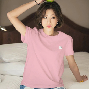 Summer korean version was thin wild loose sleeve white embroidered short sleeve t-shirt female student casual t-shirt clothes (4643 pink)