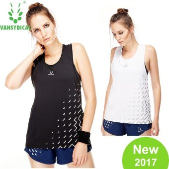 Harga VANSYDICAL Woman Fashion Sport T-shirts Quickly Dry Running Fitness Printed Vest Loose Tank Top - intl
