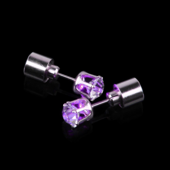 Harga Light Up Fashion Jewelry Led Earring Ear Stud Round Crown 1 Pcs Dance Party Cute Multi Colors Hot Purple