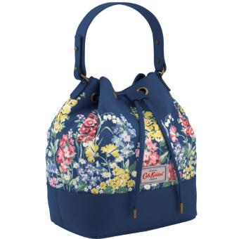 Cath Kidston Canvas & Leather Bucket Bag Drawstring Bag (SMALL HERBACEOUS BORDER)