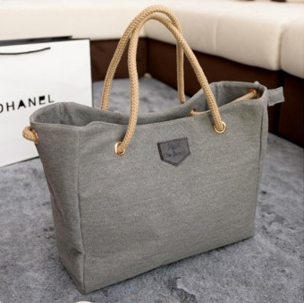 Harga Outlet Canvas bag simple shopping bag Grey