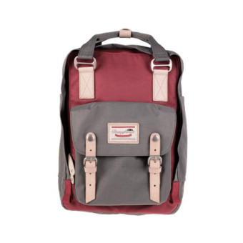 Doughnut Macaroon Unisex Waterproof Nylon Backpack (WINE X GREY) - intl