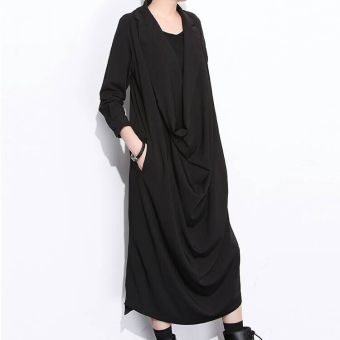 Harga [F] issey miyake style clothing coffee paragraph diablo series design sense of piles collar sleeve dress rad (Black)