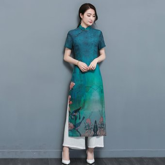 Harga 2017 summer new audrey audrey cheongsam chinese style chinese cheongsam dress in viet nam kee gown long sleeve dress women