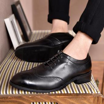Harga ZOQI man's formal Low Cut shoes genuine leather brogue style Shoes(Black) - intl