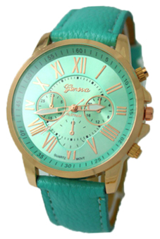 Harga BlueLans Geneva Roman Numerals Green Leather Strap Watch