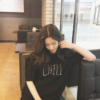 New round neck short sleeve t-shirt female korean wild spring and summer students loose pullover bottoming shirt embroidered shirt compassionate (Black)