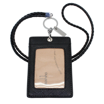 Harga Boshiho Vertical Style Leather ID Card Badge Holder with Keychain Lanyard(Black with Keychain)
