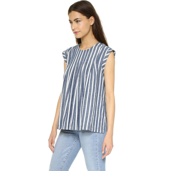 Harga European and American blue and white round neck loose casual T-shirt