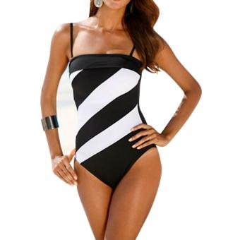 Harga Woman Backless Vest Bikini Black+White - Intl