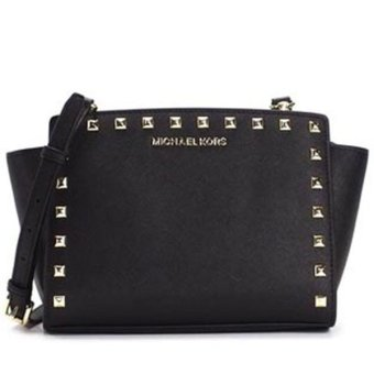 Harga MICHAEL KORS SELMA MEDIUM MESSENGER WITH STUD (BLACK)
