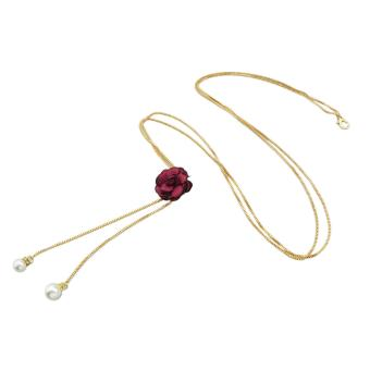 Harga Feelontop Fashion Gold Color Long Chain Waist Belt with Flower for Lady - intl