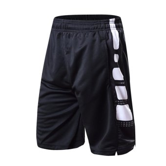 Harga Black / White Two Tone Workout Performance Shorts Men's Kobe Basketball Shorts with Side Pockets - intl