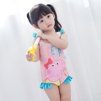 Harga Children Swimsuit Girl Little Girl Baby Baby Girl Pink Cute Pigeon Pecs One-piece Swimsuit Swim Cap Two Pieces - intl