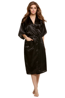 Harga Cyber Sexy Woman Silk Strappy Sleepwear Long Bath Robes Night Gown Pajamas ( Black )