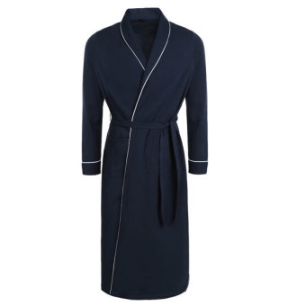 Harga SuperCart Avidlove Men's Cotton Lightweight Woven Robe Bathrobe(Navy Blue)