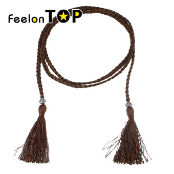 Harga Feelontop Fashion Braided Rope Chain Waist Belt with Tassel for Ladies