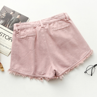 Harga Korea ulzzang Slimming effect white high waist denim shorts Women's summer Korean-style raw-cut tassel student shorts (Pink)