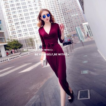 Harga 2016 spring and autumn new wave of sexy LOW cut V-NECK lace waist slim was thin slit skirt black dress (Red wine)