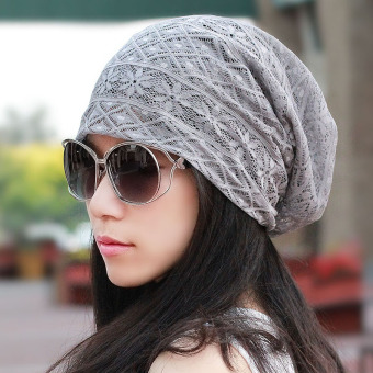 Harga Ms. scarf cap hat female thin hollow lace breathable mesh cap autumn air conditioning cap dust cap piles (Gray seal)