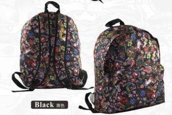 Ed Hardy Countersyouth Street Personality Totem Of National Wind Printing Backpack Influx Of Japan And South Korea Wind (Black)