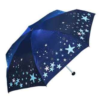 Harga Heaven umbrella lightweight mini pocket umbrella SUN umbrella anti-UV sun five fold umbrella rain or shine umbrella folding female (Stars: glass blue)