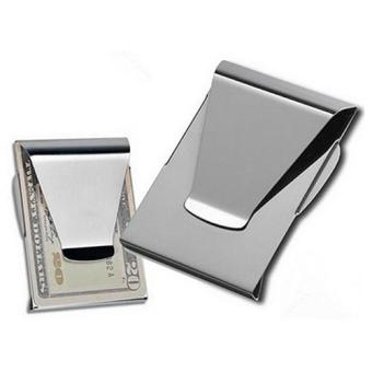Harga Sanwood 1Pc Stainless Steel ID Card Folder Double Sided Wallet Holder Slim Money Clip - intl