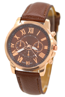 Harga Bluelans Geneva Roman Numerals Faux Leather Wrist Watch Brown
