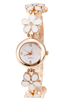 Bluelans Rose Gold Daisies Flower Bracelet Wrist Watch (White) Price in Singapore
