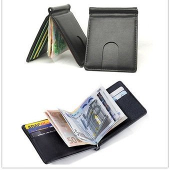 Harga Solid Money Clip Wallet Men With Credit Card Id Holder Porta Fogliofor Male Wallet Clips Hot Sale - intl
