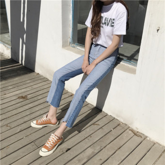 Harga Korea ulzzang Harajuku style spring Women's New style Korean-style straight student Slimming effect trousers Spell color denim pants