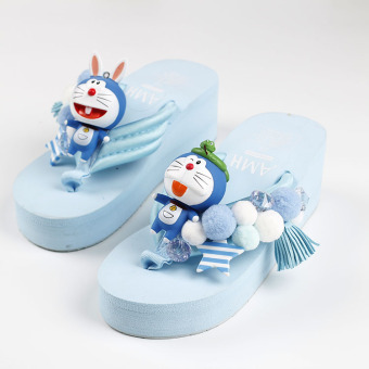 Harga Cartoon dora a dream doraemon herringbone slippers ladies summer antiskid foam beach flip flops fashion korean version of the influx of (Doraemon mix and match models slippers)